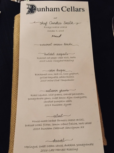 Dunham Cellars menu